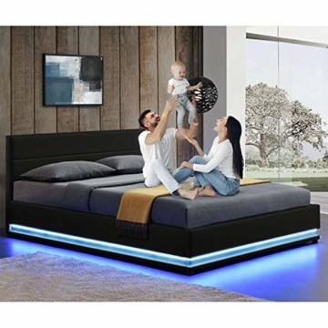 ArtLife Polsterbett Toulouse 140x200 cm – Bett mit Lattenrost, Kopfteil, LED-Leiste & Stauraum – Modernes Bettgestell - Bezug Kunstleder in Schwarz - 3