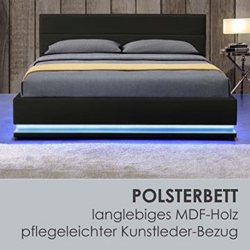 ArtLife Polsterbett Toulouse 140x200 cm – Bett mit Lattenrost, Kopfteil, LED-Leiste & Stauraum – Modernes Bettgestell - Bezug Kunstleder in Schwarz - 4