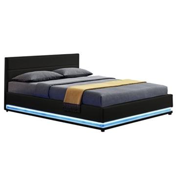 ArtLife Polsterbett Toulouse 140x200 cm – Bett mit Lattenrost, Kopfteil, LED-Leiste & Stauraum – Modernes Bettgestell - Bezug Kunstleder in Schwarz - 1