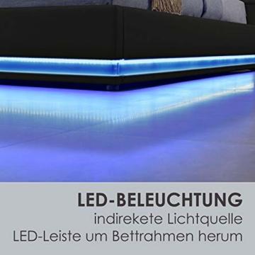 ArtLife Polsterbett Toulouse 140x200 cm – Bett mit Lattenrost, Kopfteil, LED-Leiste & Stauraum – Modernes Bettgestell - Bezug Kunstleder in Schwarz - 5