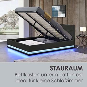 ArtLife Polsterbett Toulouse 140x200 cm – Bett mit Lattenrost, Kopfteil, LED-Leiste & Stauraum – Modernes Bettgestell - Bezug Kunstleder in Schwarz - 6