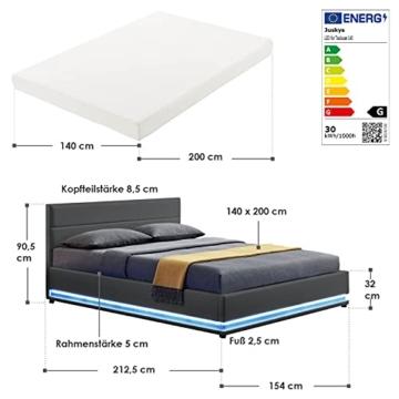 ArtLife Polsterbett Toulouse 140x200 cm – Bett mit Matratze, Lattenrost, Kopfteil, LED & Stauraum – Modernes Bettgestell - Bezug aus Kunstleder grau - 2