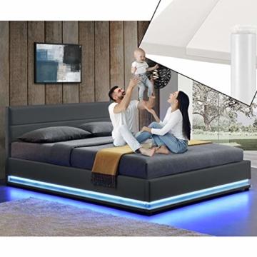 ArtLife Polsterbett Toulouse 140x200 cm – Bett mit Matratze, Lattenrost, Kopfteil, LED & Stauraum – Modernes Bettgestell - Bezug aus Kunstleder grau - 3