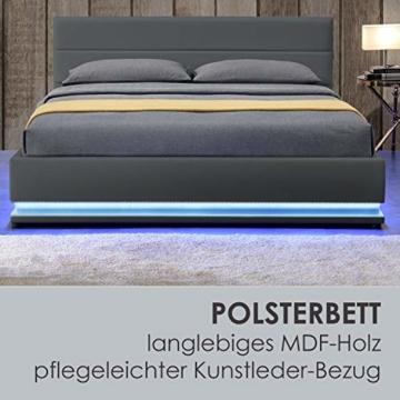 ArtLife Polsterbett Toulouse 140x200 cm – Bett mit Matratze, Lattenrost, Kopfteil, LED & Stauraum – Modernes Bettgestell - Bezug aus Kunstleder grau - 4