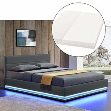 ArtLife Polsterbett Toulouse 140x200 cm – Bett mit Matratze, Lattenrost, Kopfteil, LED & Stauraum – Modernes Bettgestell - Bezug aus Kunstleder grau - 1