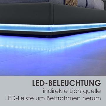 ArtLife Polsterbett Toulouse 140x200 cm – Bett mit Matratze, Lattenrost, Kopfteil, LED & Stauraum – Modernes Bettgestell - Bezug aus Kunstleder grau - 5