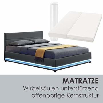 ArtLife Polsterbett Toulouse 140x200 cm – Bett mit Matratze, Lattenrost, Kopfteil, LED & Stauraum – Modernes Bettgestell - Bezug aus Kunstleder grau - 6