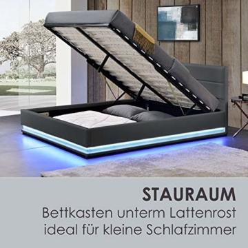 ArtLife Polsterbett Toulouse 140x200 cm – Bett mit Matratze, Lattenrost, Kopfteil, LED & Stauraum – Modernes Bettgestell - Bezug aus Kunstleder grau - 7
