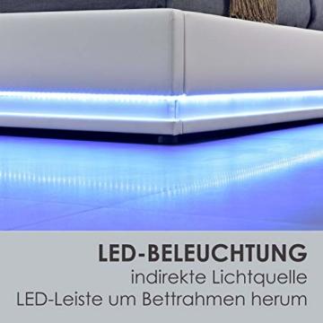 ArtLife Polsterbett Toulouse 180x200 cm – Bett mit Matratze, Lattenrost, Kopfteil, LED & Stauraum – Modernes Bettgestell - Bezug aus Kunstleder Weiß - 5