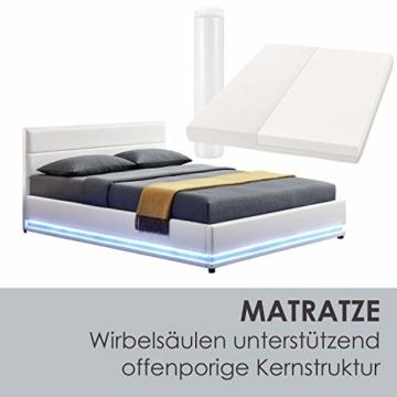 ArtLife Polsterbett Toulouse 180x200 cm – Bett mit Matratze, Lattenrost, Kopfteil, LED & Stauraum – Modernes Bettgestell - Bezug aus Kunstleder Weiß - 6