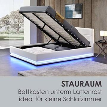 ArtLife Polsterbett Toulouse 180x200 cm – Bett mit Matratze, Lattenrost, Kopfteil, LED & Stauraum – Modernes Bettgestell - Bezug aus Kunstleder Weiß - 7