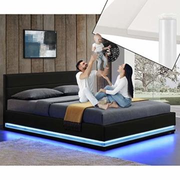 ArtLife Polsterbett Toulouse 180x200 cm – Bett mit Matratze, Lattenrost, Kopfteil, LED & Stauraum – Modernes Bettgestell - Bezug Kunstleder in Schwarz - 3