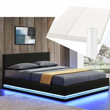 ArtLife Polsterbett Toulouse 180x200 cm – Bett mit Matratze, Lattenrost, Kopfteil, LED & Stauraum – Modernes Bettgestell - Bezug Kunstleder in Schwarz - 1