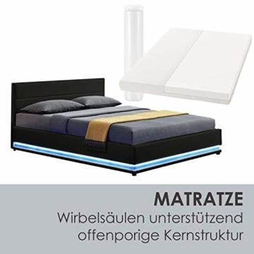 ArtLife Polsterbett Toulouse 180x200 cm – Bett mit Matratze, Lattenrost, Kopfteil, LED & Stauraum – Modernes Bettgestell - Bezug Kunstleder in Schwarz - 6