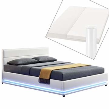 ArtLife Polsterbett Toulouse 180x200 cm – Bett mit Matratze, Lattenrost, Kopfteil, LED & Stauraum – Modernes Bettgestell - Bezug aus Kunstleder Weiß - 1