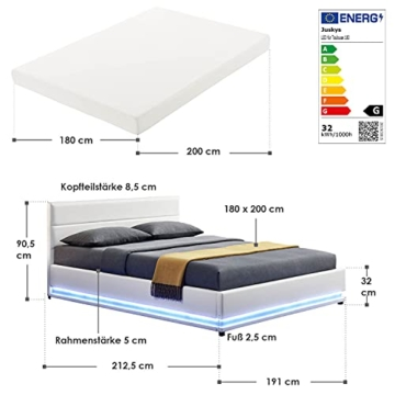 ArtLife Polsterbett Toulouse 180x200 cm – Bett mit Matratze, Lattenrost, Kopfteil, LED & Stauraum – Modernes Bettgestell - Bezug aus Kunstleder Weiß - 2