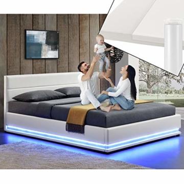 ArtLife Polsterbett Toulouse 180x200 cm – Bett mit Matratze, Lattenrost, Kopfteil, LED & Stauraum – Modernes Bettgestell - Bezug aus Kunstleder Weiß - 3