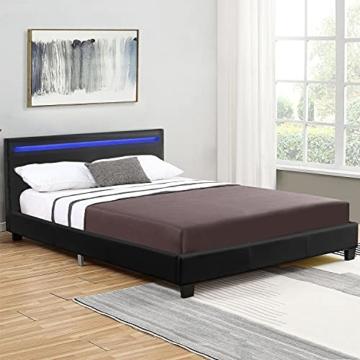 ArtLife Polsterbett Verona 120 × 200 cm - Bett komplett mit LED-Beleuchtung, Matratze und Lattenrost - Kunstleder Bezug - schwarz – Jugendbett - 3