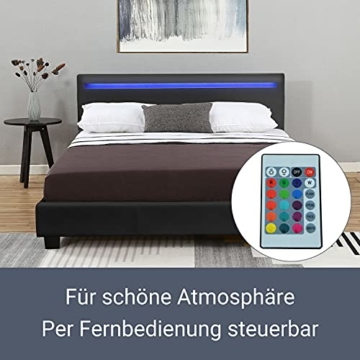 ArtLife Polsterbett Verona 120 × 200 cm - Bett komplett mit LED-Beleuchtung, Matratze und Lattenrost - Kunstleder Bezug - schwarz – Jugendbett - 4