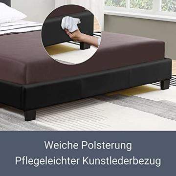 ArtLife Polsterbett Verona 120 × 200 cm - Bett komplett mit LED-Beleuchtung, Matratze und Lattenrost - Kunstleder Bezug - schwarz – Jugendbett - 5