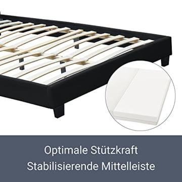 ArtLife Polsterbett Verona 120 × 200 cm - Bett komplett mit LED-Beleuchtung, Matratze und Lattenrost - Kunstleder Bezug - schwarz – Jugendbett - 6