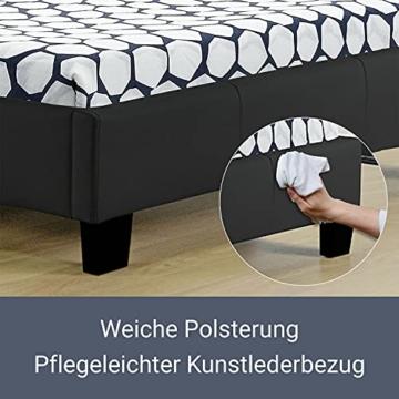 Artlife Polsterbett Verona 90 x 200 cm schwarz – Bettgestell inkl. LED-Beleuchtung, Lattenrost & Kopfteil – Bett mit Holzgestell & Kunstleder-Bezug - 5