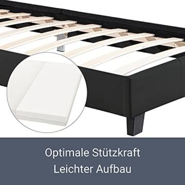 Artlife Polsterbett Verona 90 x 200 cm schwarz – Bettgestell inkl. LED-Beleuchtung, Lattenrost & Kopfteil – Bett mit Holzgestell & Kunstleder-Bezug - 6