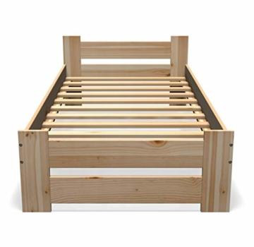 Best For You Massivholzbett Doppelbett Futonbett Massivholz Natur Seniorenbett erhöhtes Bett aus 100% Naturholz mit Kopfteil und Lattenrost viele Größen (90x200cm) - 2