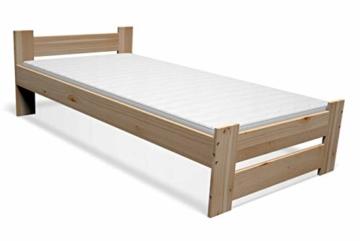 Best For You Massivholzbett Doppelbett Futonbett Massivholz Natur Seniorenbett erhöhtes Bett aus 100% Naturholz mit Kopfteil und Lattenrost viele Größen (90x200cm) - 3