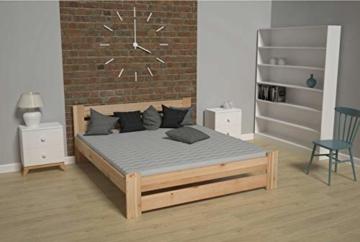 Best For You Massivholzbett Doppelbett Futonbett Massivholz Natur Seniorenbett erhöhtes Bett aus 100% Naturholz mit Kopfteil und Lattenrost viele Größen (90x200cm) - 4