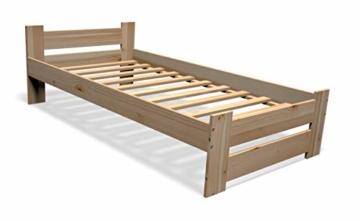 Best For You Massivholzbett Doppelbett Futonbett Massivholz Natur Seniorenbett erhöhtes Bett aus 100% Naturholz mit Kopfteil und Lattenrost viele Größen (90x200cm) - 1