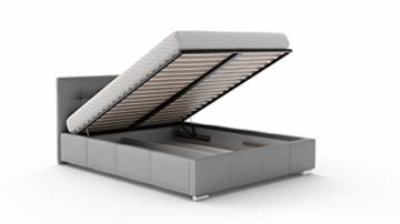 Bett Doppelbett SARA mit Lattenrost aus Metallrahmen und Bettkasten Polsterbett Bettgestell Schlafzimmer (180 x 200 cm) - 2