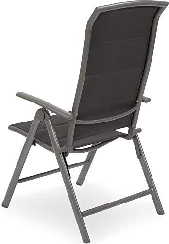 BRUBAKER 2er Set Gartenstühle Milano - Gepolsterte Klappstühle - 8-fach verstellbare Rückenlehnen - Stühle aus Aluminium - Wetterfest - Silbergrau - 2