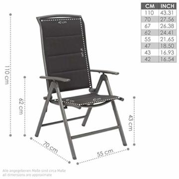 BRUBAKER 2er Set Gartenstühle Milano - Gepolsterte Klappstühle - 8-fach verstellbare Rückenlehnen - Stühle aus Aluminium - Wetterfest - Silbergrau - 3