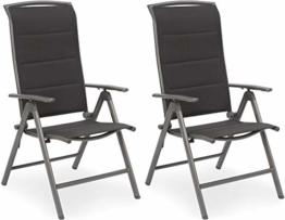 BRUBAKER 2er Set Gartenstühle Milano - Gepolsterte Klappstühle - 8-fach verstellbare Rückenlehnen - Stühle aus Aluminium - Wetterfest - Silbergrau - 1