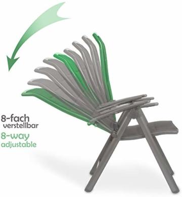 BRUBAKER 2er Set Gartenstühle Milano - Gepolsterte Klappstühle - 8-fach verstellbare Rückenlehnen - Stühle aus Aluminium - Wetterfest - Silbergrau - 5