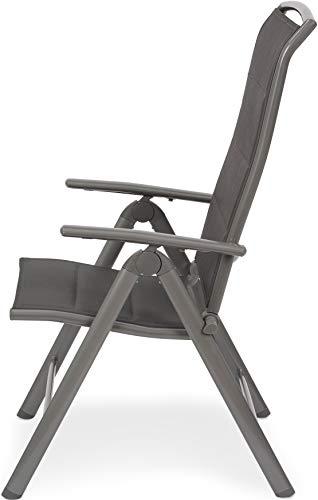 BRUBAKER 2er Set Gartenstühle Milano - Gepolsterte Klappstühle - 8-fach verstellbare Rückenlehnen - Stühle aus Aluminium - Wetterfest - Silbergrau - 6