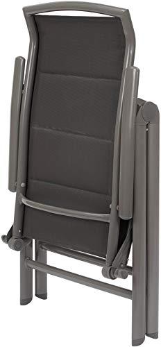 BRUBAKER 2er Set Gartenstühle Milano - Gepolsterte Klappstühle - 8-fach verstellbare Rückenlehnen - Stühle aus Aluminium - Wetterfest - Silbergrau - 7