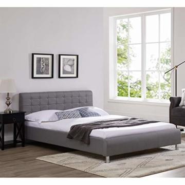 CARO-Möbel Polsterbett Cannes in grau Einzelbett Doppelbett 140 x 200 cm mit Lattenrahmen - 2