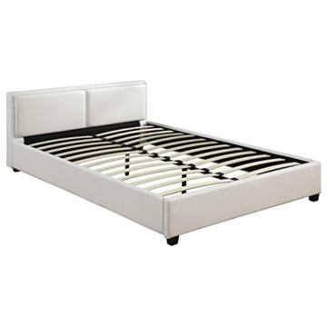 CARO-Möbel Polsterbett Doppelbett Celine weiß, 140 x 200 cm, Kunstlederbezug inklusive Lattenrahmen - 2