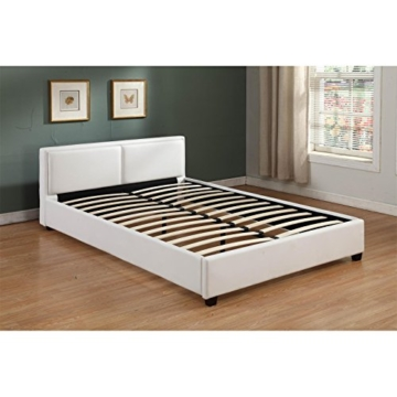 CARO-Möbel Polsterbett Doppelbett Celine weiß, 140 x 200 cm, Kunstlederbezug inklusive Lattenrahmen - 3