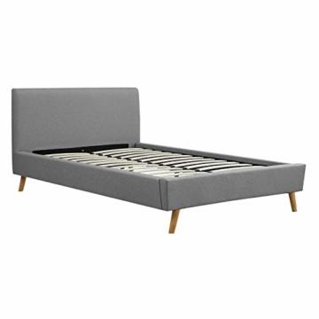 CARO-Möbel Polsterbett Edge Bettgestell Einzelbett 120x200 cm inkl. Lattenrahmen, Stoffbezug in grau, skandinavisches Design - 3