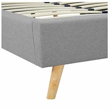 CARO-Möbel Polsterbett Edge Bettgestell Einzelbett 120x200 cm inkl. Lattenrahmen, Stoffbezug in grau, skandinavisches Design - 4