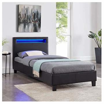 CARO-Möbel Polsterbett Mandalay mit LED Beleuchtung Einzelbett Lederbett 90 x 200 cm mit Lattenrahmen, Lederimitat in schwarz - 2