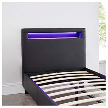 CARO-Möbel Polsterbett Mandalay mit LED Beleuchtung Einzelbett Lederbett 90 x 200 cm mit Lattenrahmen, Lederimitat in schwarz - 5