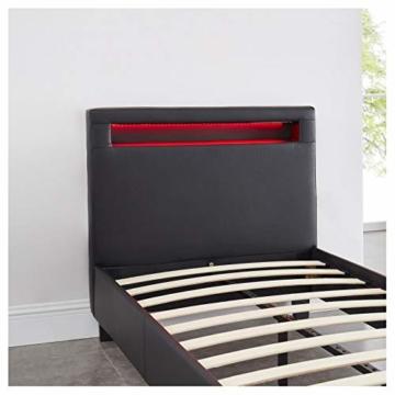 CARO-Möbel Polsterbett Mandalay mit LED Beleuchtung Einzelbett Lederbett 90 x 200 cm mit Lattenrahmen, Lederimitat in schwarz - 6