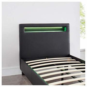 CARO-Möbel Polsterbett Mandalay mit LED Beleuchtung Einzelbett Lederbett 90 x 200 cm mit Lattenrahmen, Lederimitat in schwarz - 7