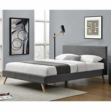 Corium Polsterbett aus Leinen Bettgestell mit Lattenrost 140x200 cm Bett inkl. Lattenrahmen Doppelbett Jugendbett Dunkelgrau - 2