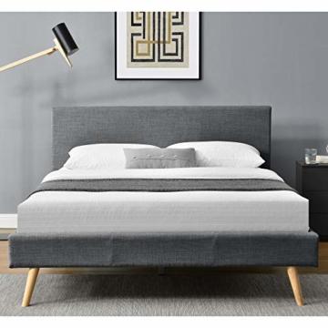 Corium Polsterbett aus Leinen Bettgestell mit Lattenrost 140x200 cm Bett inkl. Lattenrahmen Doppelbett Jugendbett Dunkelgrau - 3