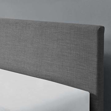 Corium Polsterbett aus Leinen Bettgestell mit Lattenrost 140x200 cm Bett inkl. Lattenrahmen Doppelbett Jugendbett Dunkelgrau - 4